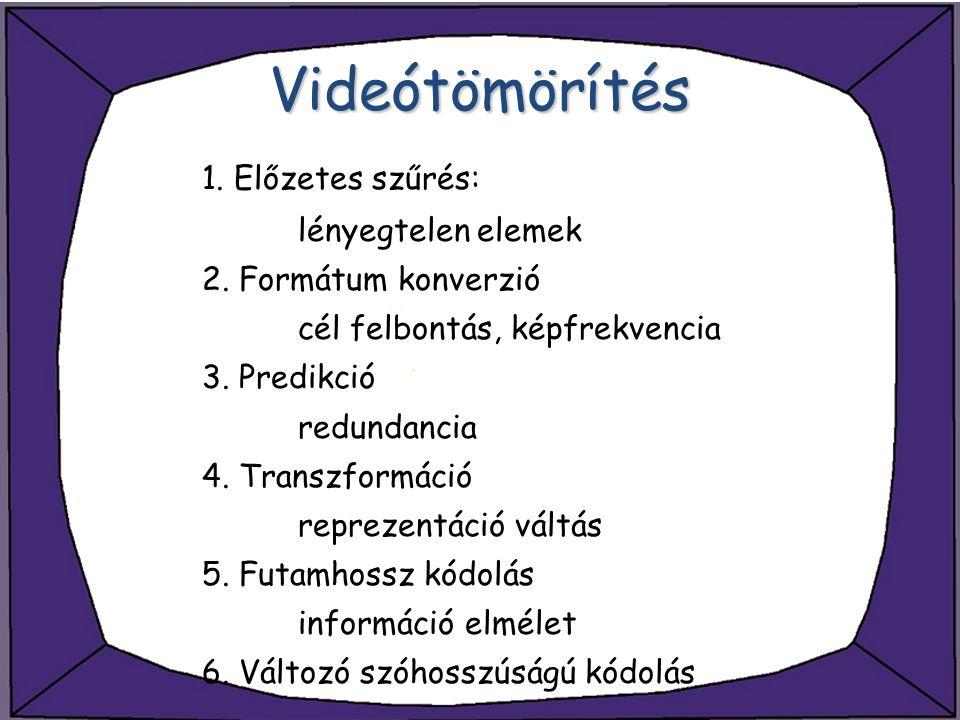 Videótömörítés 1. Előzetes szűrés: lényegtelen elemek 2. Formátum konverzió cél felbontás, képfrekvencia 3. Predikció redundancia 4. Transzformáció re