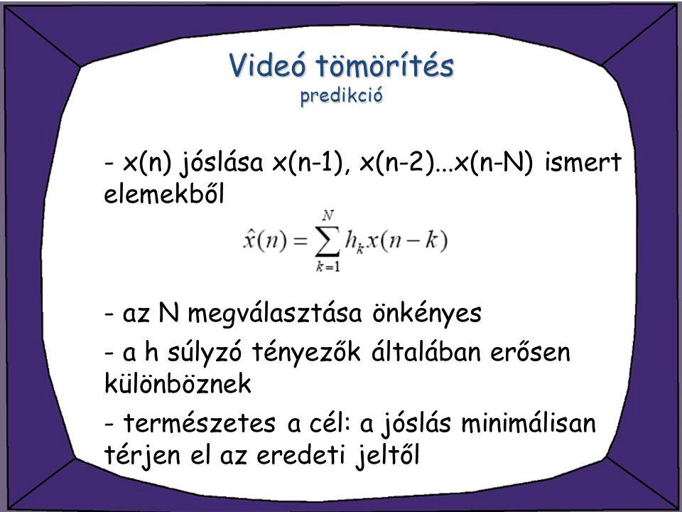 Videó tömörítés predikció - x(n) jóslása x(n-1), x(n-2)...x(n-N) ismert elemekből - az N megválasztása önkényes - a h súlyzó tényezők általában erősen