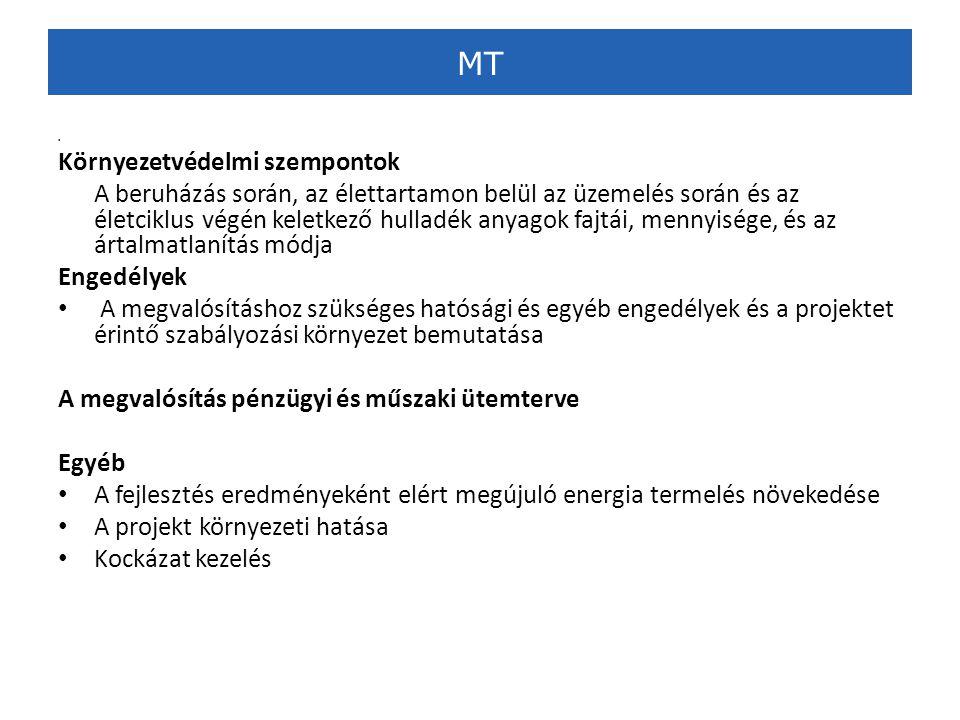 MT • Környezetvédelmi szempontok A beruházás során, az élettartamon belül az üzemelés során és az életciklus végén keletkező hulladék anyagok fajtái, mennyisége, és az ártalmatlanítás módja Engedélyek • A megvalósításhoz szükséges hatósági és egyéb engedélyek és a projektet érintő szabályozási környezet bemutatása A megvalósítás pénzügyi és műszaki ütemterve Egyéb • A fejlesztés eredményeként elért megújuló energia termelés növekedése • A projekt környezeti hatása • Kockázat kezelés