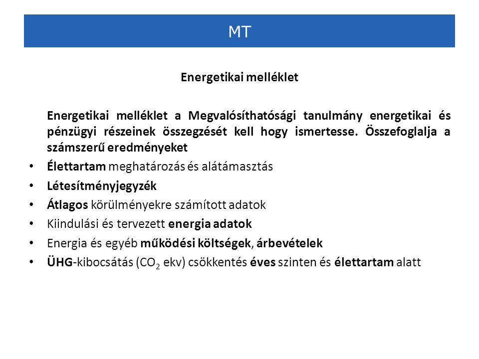 MT Energetikai melléklet Energetikai melléklet a Megvalósíthatósági tanulmány energetikai és pénzügyi részeinek összegzését kell hogy ismertesse.