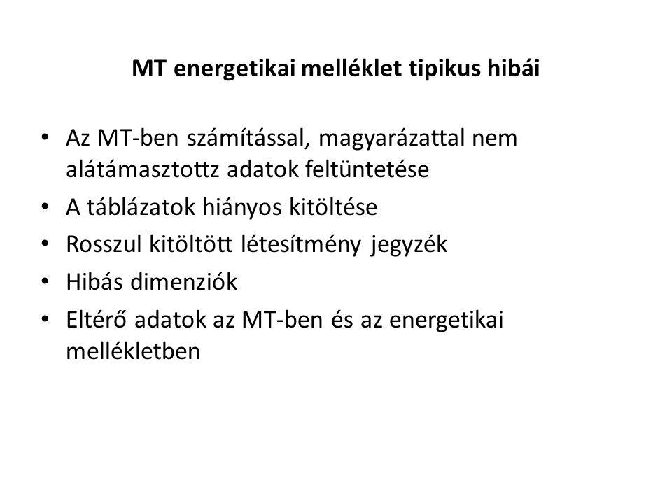 MT energetikai melléklet tipikus hibái • Az MT-ben számítással, magyarázattal nem alátámasztottz adatok feltüntetése • A táblázatok hiányos kitöltése • Rosszul kitöltött létesítmény jegyzék • Hibás dimenziók • Eltérő adatok az MT-ben és az energetikai mellékletben