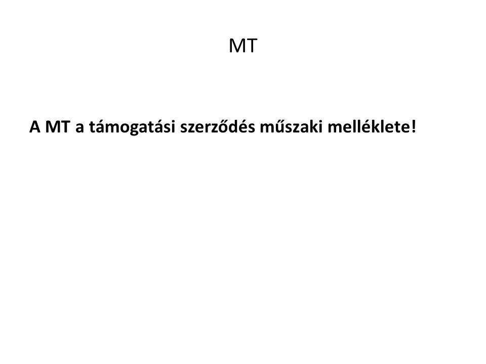 MT A MT a támogatási szerződés műszaki melléklete!