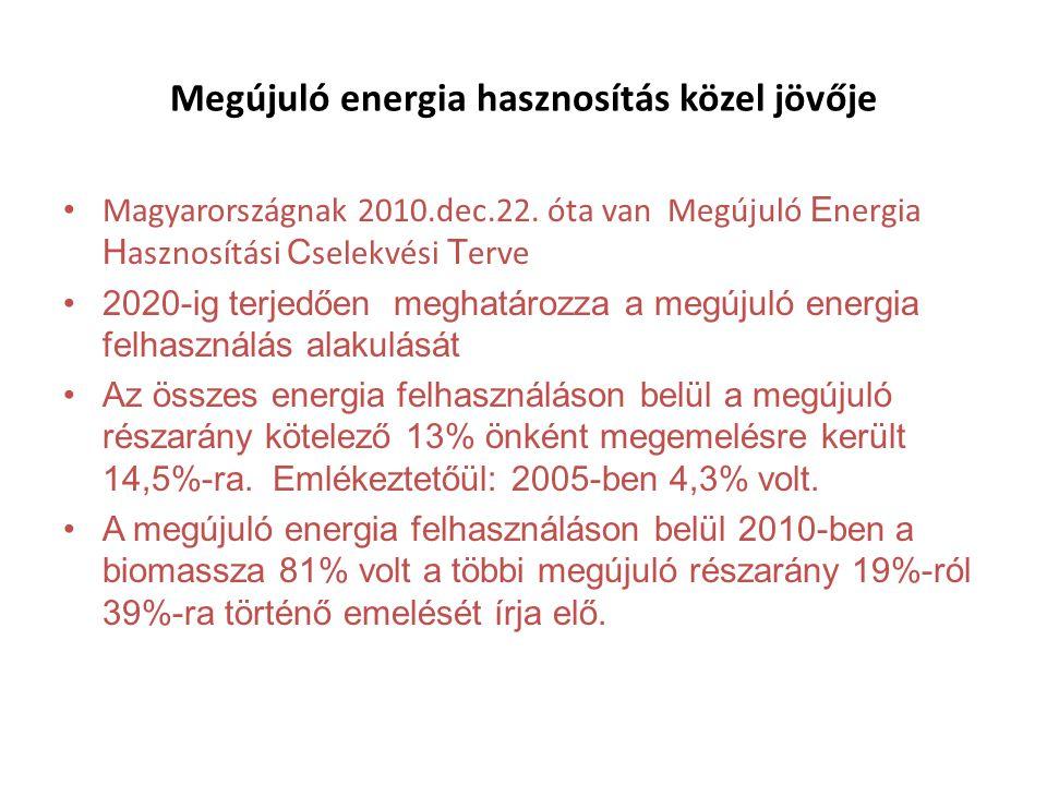 Megújuló energia hasznosítás közel jövője • Magyarországnak 2010.dec.22.