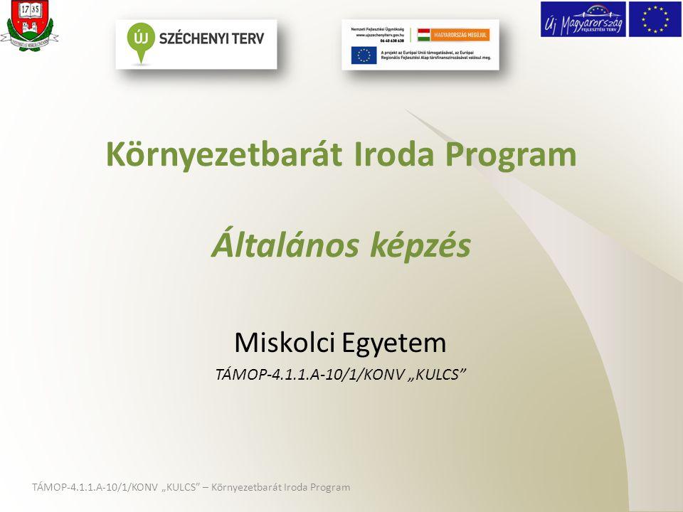 """A """"KULCS projektről • 2010-2012 közötti megvalósulás • Komplex egyetemi szolgáltatásfejlesztés: – Munkaerőpiaci alkalmazkodás fejlesztése – Intézményirányítás fejlesztése • Környezetbarát Iroda Program – Hallgatói-oktatói szolgáltatásfejlesztés – Nemzetközi versenyképességet elősegítő szolgáltatásfejlesztések TÁMOP-4.1.1.A-10/1/KONV """"KULCS – Környezetbarát Iroda Program"""
