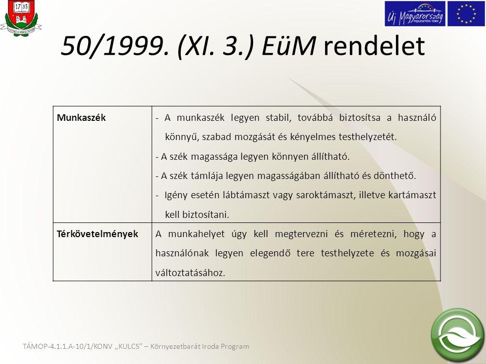 """TÁMOP-4.1.1.A-10/1/KONV """"KULCS"""" – Környezetbarát Iroda Program 50/1999. (XI. 3.) EüM rendelet Munkaszék - A munkaszék legyen stabil, továbbá biztosíts"""