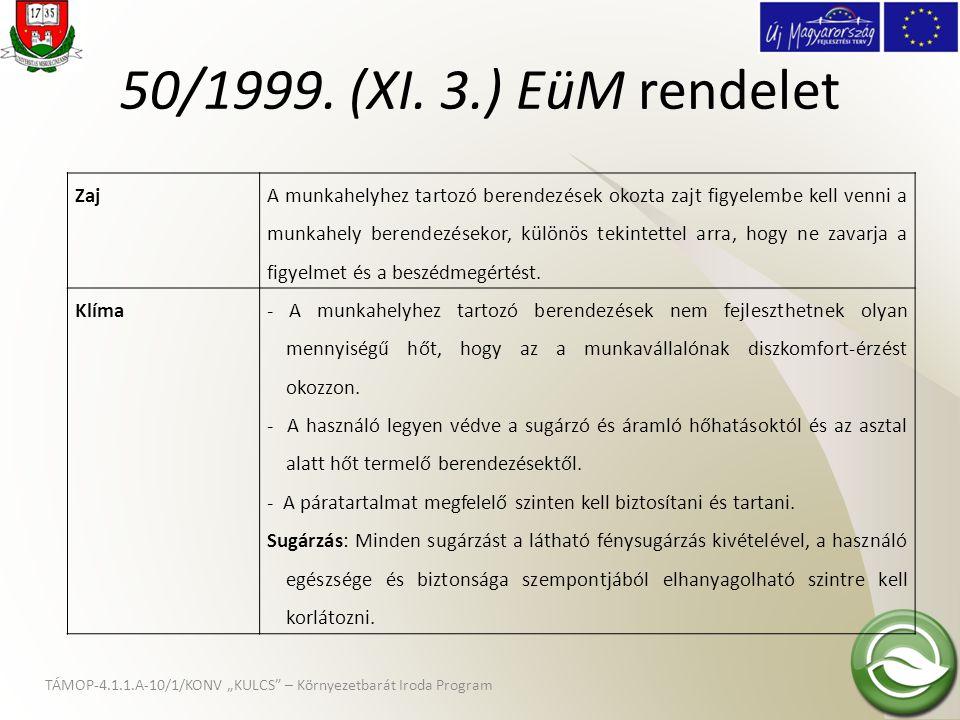 """TÁMOP-4.1.1.A-10/1/KONV """"KULCS"""" – Környezetbarát Iroda Program 50/1999. (XI. 3.) EüM rendelet Zaj A munkahelyhez tartozó berendezések okozta zajt figy"""