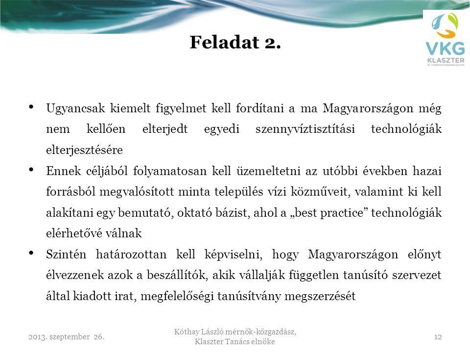 2013. szeptember 26. Kóthay László mérnök-közgazdász, Klaszter Tanács elnöke 12 Feladat 2. • Ugyancsak kiemelt figyelmet kell fordítani a ma Magyarors