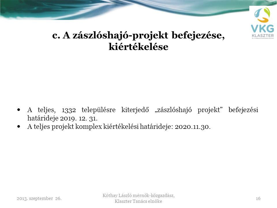 2013. szeptember 26. Kóthay László mérnök-közgazdász, Klaszter Tanács elnöke 16 c. A zászlóshajó-projekt befejezése, kiértékelése  A teljes, 1332 tel