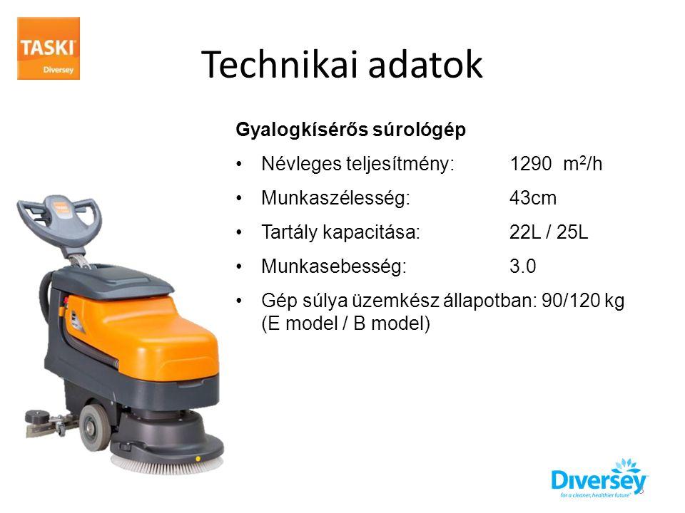 Technikai adatok Gyalogkísérős súrológép •Névleges teljesítmény: 1290 m 2 /h •Munkaszélesség: 43cm •Tartály kapacitása:22L / 25L •Munkasebesség: 3.0 •Gép súlya üzemkész állapotban: 90/120 kg (E model / B model) 3