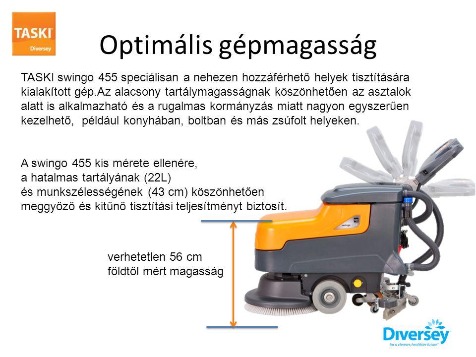 Optimális gépmagasság TASKI swingo 455 speciálisan a nehezen hozzáférhető helyek tisztítására kialakított gép.Az alacsony tartálymagasságnak köszönhetően az asztalok alatt is alkalmazható és a rugalmas kormányzás miatt nagyon egyszerűen kezelhető, például konyhában, boltban és más zsúfolt helyeken.