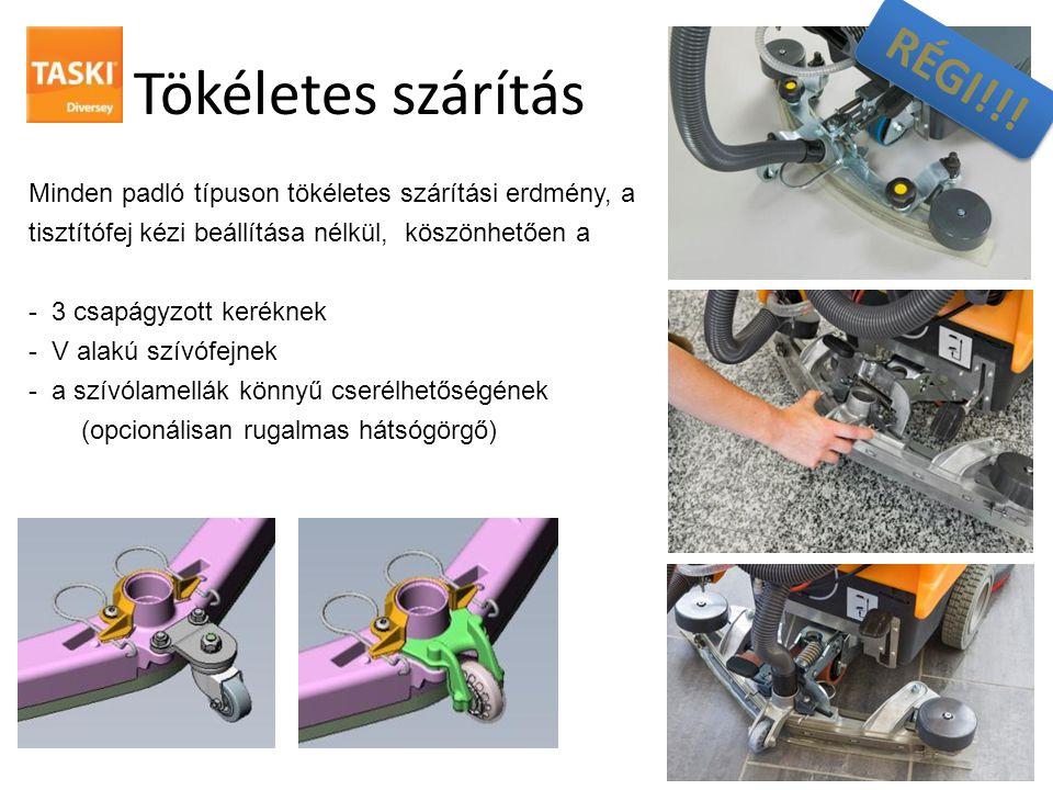 Tökéletes szárítás Minden padló típuson tökéletes szárítási erdmény, a tisztítófej kézi beállítása nélkül, köszönhetően a - 3 csapágyzott keréknek - V alakú szívófejnek - a szívólamellák könnyű cserélhetőségének (opcionálisan rugalmas hátsógörgő) RÉGI!!!