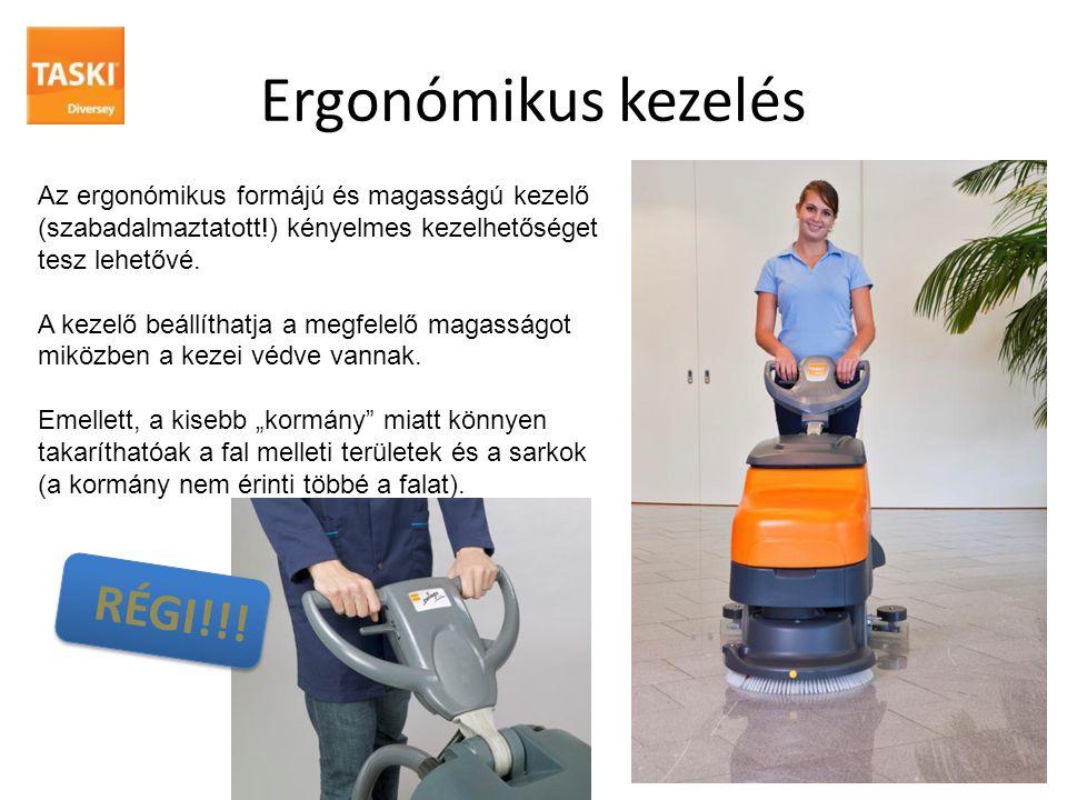 Ergonómikus kezelés Az ergonómikus formájú és magasságú kezelő (szabadalmaztatott!) kényelmes kezelhetőséget tesz lehetővé. A kezelő beállíthatja a me