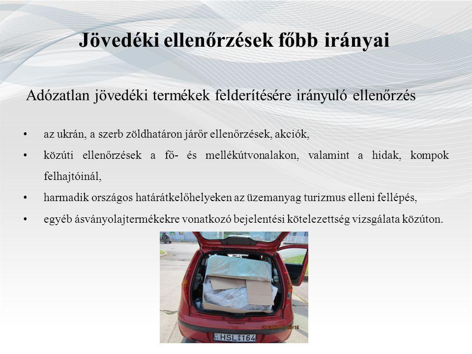 Adózatlan jövedéki termékek felderítésére irányuló ellenőrzés • az ukrán, a szerb zöldhatáron járőr ellenőrzések, akciók, • közúti ellenőrzések a fő-