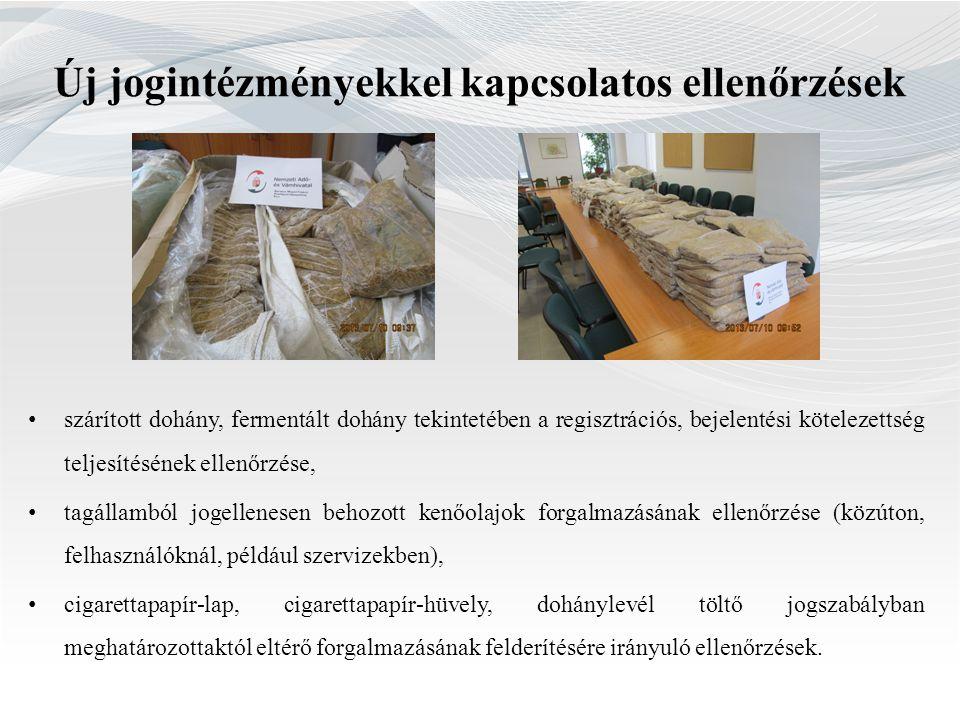 Új jogintézményekkel kapcsolatos ellenőrzések • szárított dohány, fermentált dohány tekintetében a regisztrációs, bejelentési kötelezettség teljesítés