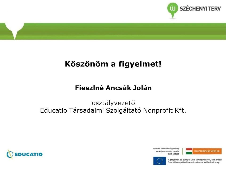 Köszönöm a figyelmet! Fieszlné Ancsák Jolán osztályvezető Educatio Társadalmi Szolgáltató Nonprofit Kft.