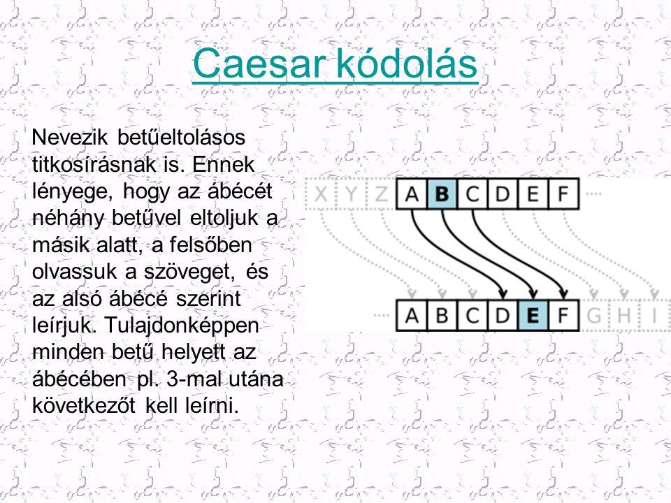 Caesar kódolás Nevezik betűeltolásos titkosírásnak is. Ennek lényege, hogy az ábécét néhány betűvel eltoljuk a másik alatt, a felsőben olvassuk a szöv