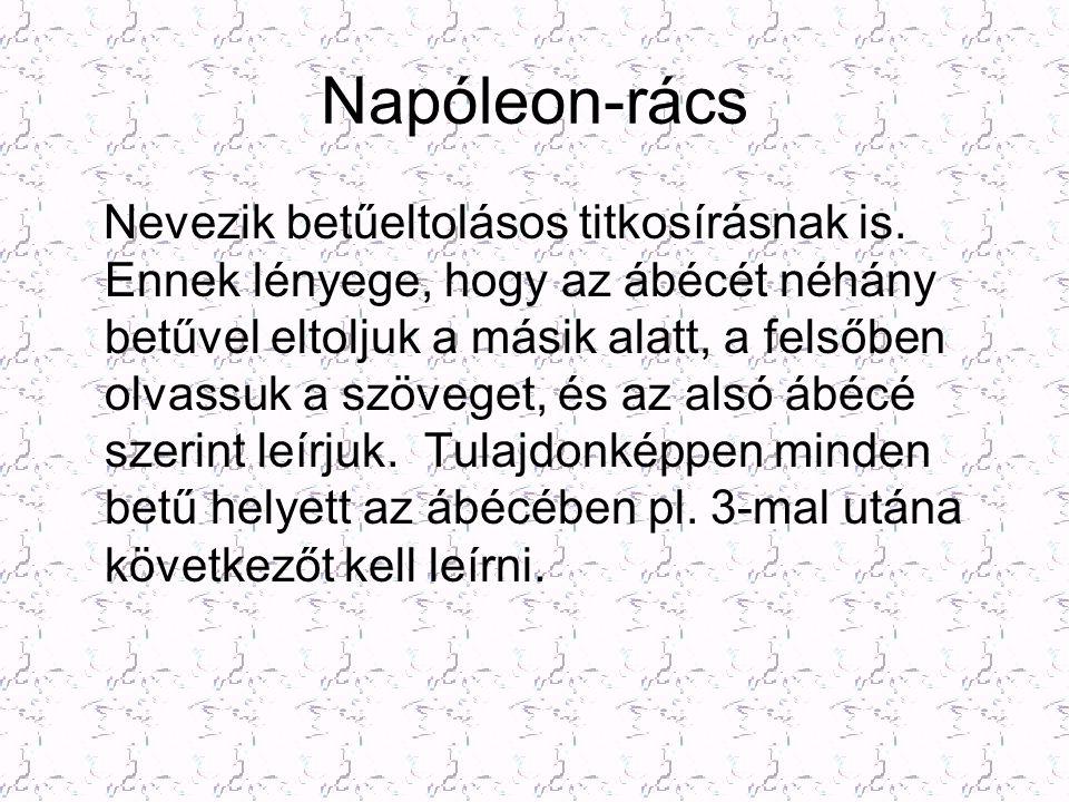Napóleon-rács Nevezik betűeltolásos titkosírásnak is. Ennek lényege, hogy az ábécét néhány betűvel eltoljuk a másik alatt, a felsőben olvassuk a szöve