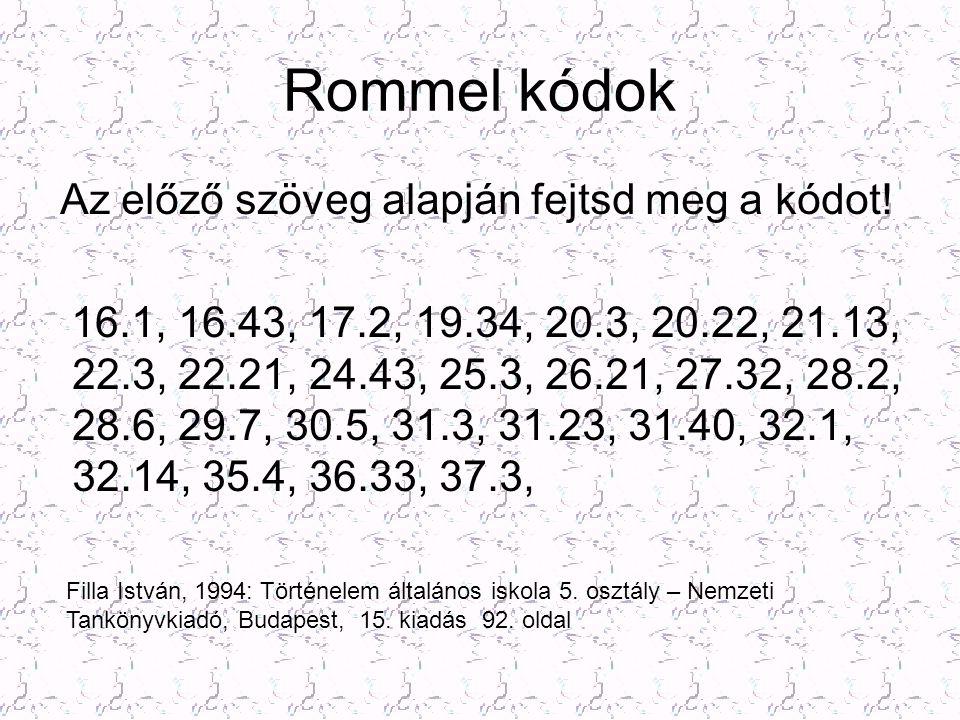 Rommel kódok Az előző szöveg alapján fejtsd meg a kódot! 16.1, 16.43, 17.2, 19.34, 20.3, 20.22, 21.13, 22.3, 22.21, 24.43, 25.3, 26.21, 27.32, 28.2, 2