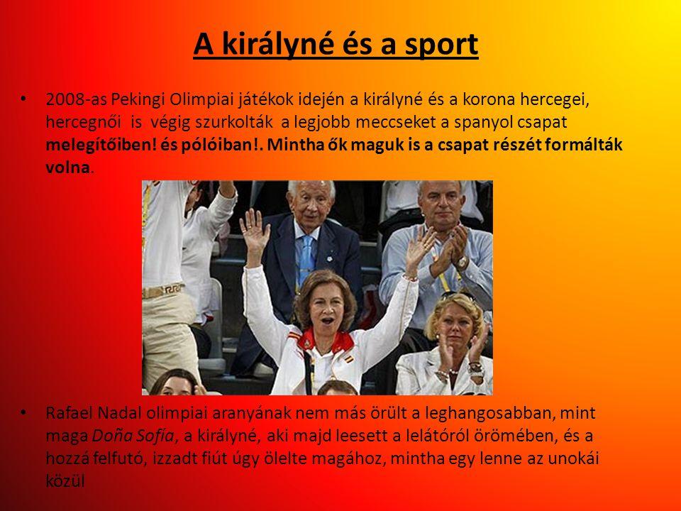 A királyné és a sport • 2008-as Pekingi Olimpiai játékok idején a királyné és a korona hercegei, hercegnői is végig szurkolták a legjobb meccseket a s