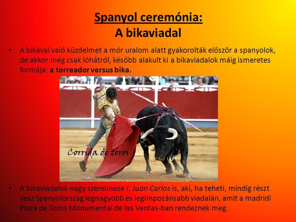 Spanyol ceremónia: A bikaviadal • A bikával való küzdelmet a mór uralom alatt gyakorolták először a spanyolok, de akkor még csak lóhátról, később alak