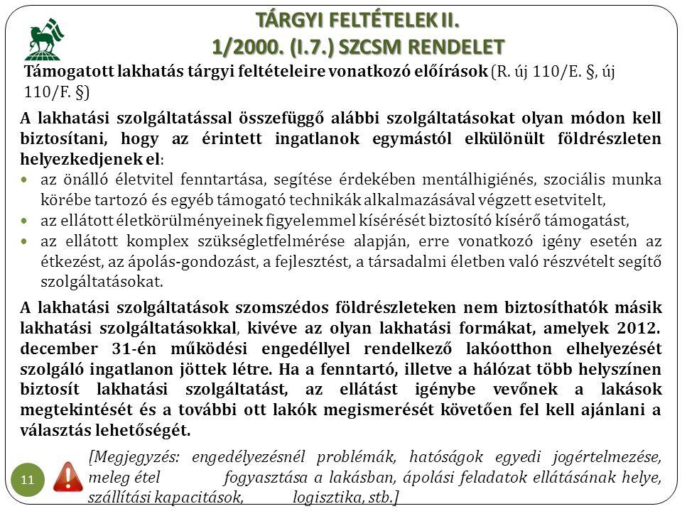 TÁRGYI FELTÉTELEK II. 1/2000. (I.7.) SZCSM RENDELET 11 Támogatott lakhatás tárgyi feltételeire vonatkozó előírások (R. új 110/E. §, új 110/F. §) A lak