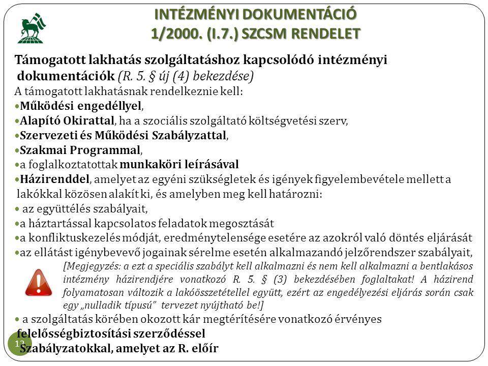 INTÉZMÉNYI DOKUMENTÁCIÓ 1/2000. (I.7.) SZCSM RENDELET 12 Támogatott lakhatás szolgáltatáshoz kapcsolódó intézményi dokumentációk (R. 5. § új (4) bekez