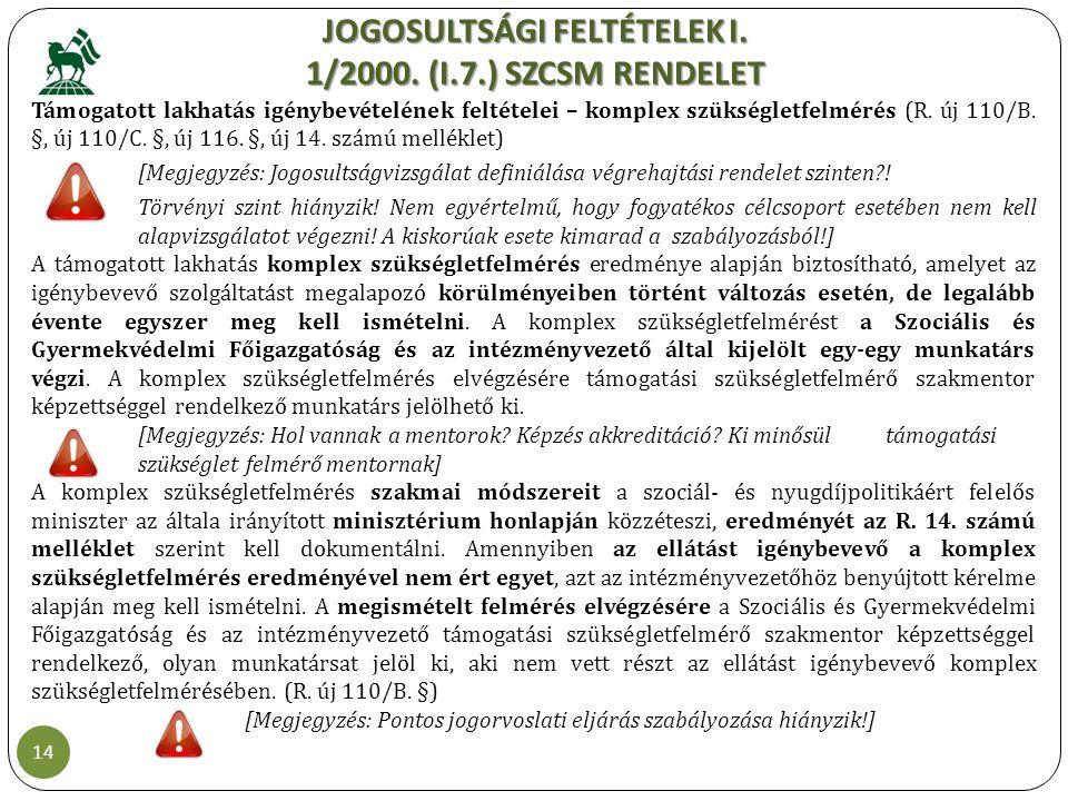 JOGOSULTSÁGI FELTÉTELEK I. 1/2000. (I.7.) SZCSM RENDELET 14 Támogatott lakhatás igénybevételének feltételei – komplex szükségletfelmérés (R. új 110/B.
