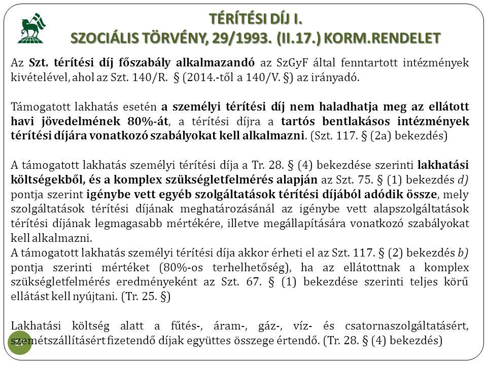 TÉRÍTÉSI DÍJ I. SZOCIÁLIS TÖRVÉNY, 29/1993. (II.17.) KORM.RENDELET 17 Az Szt. térítési díj főszabály alkalmazandó az SzGyF által fenntartott intézmény