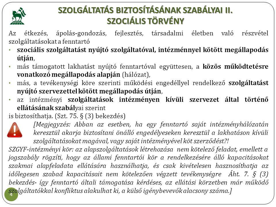 SZOLGÁLTATÁS BIZTOSÍTÁSÁNAK SZABÁLYAI II. SZOCIÁLIS TÖRVÉNY 4 Az étkezés, ápolás-gondozás, fejlesztés, társadalmi életben való részvétel szolgáltatáso