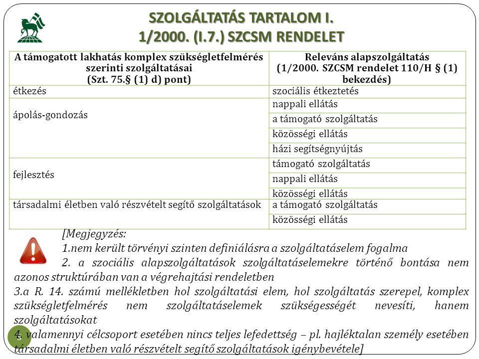 SZOLGÁLTATÁS TARTALOM I. 1/2000. (I.7.) SZCSM RENDELET 5 A támogatott lakhatás komplex szükségletfelmérés szerinti szolgáltatásai (Szt. 75.§ (1) d) po