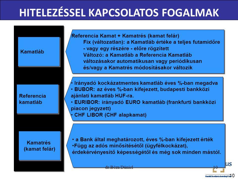 10 HITELEZÉSSEL KAPCSOLATOS FOGALMAK Kamatláb Referencia Kamat + Kamatrés (kamat felár) Fix (változatlan): a Kamatláb értéke a teljes futamidőre - vag