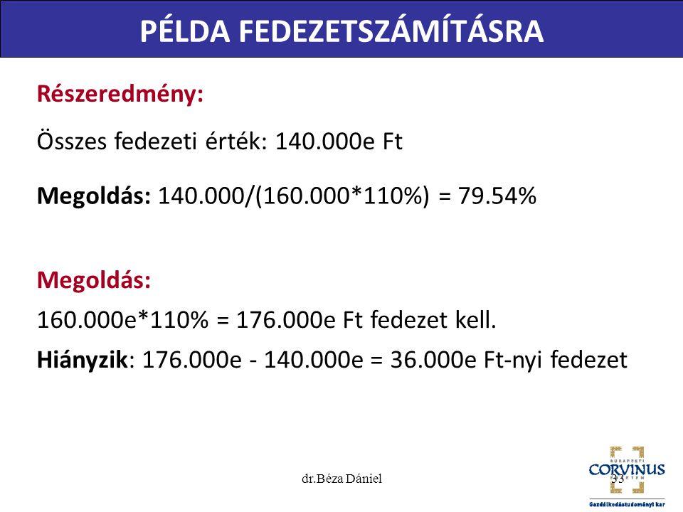 PÉLDA FEDEZETSZÁMÍTÁSRA Megoldás: 160.000e*110% = 176.000e Ft fedezet kell. Hiányzik: 176.000e - 140.000e = 36.000e Ft-nyi fedezet Részeredmény: Össze