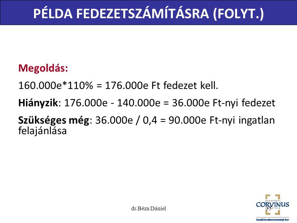 PÉLDA FEDEZETSZÁMÍTÁSRA (FOLYT.) Megoldás: 160.000e*110% = 176.000e Ft fedezet kell. Hiányzik: 176.000e - 140.000e = 36.000e Ft-nyi fedezet Szükséges