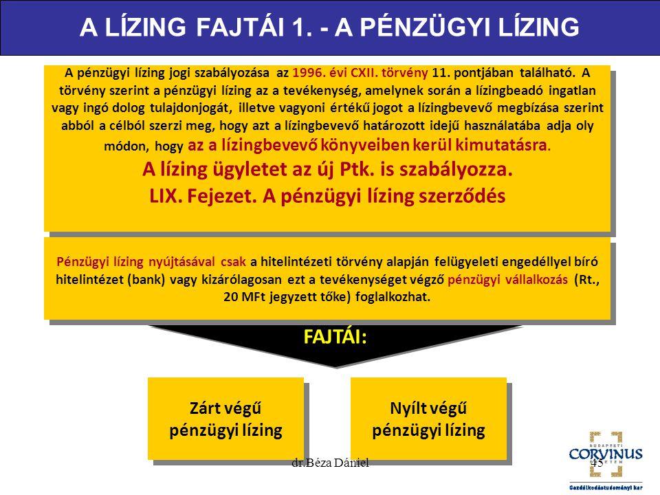 A pénzügyi lízing jogi szabályozása az 1996. évi CXII. törvény 11. pontjában található. A törvény szerint a pénzügyi lízing az a tevékenység, amelynek