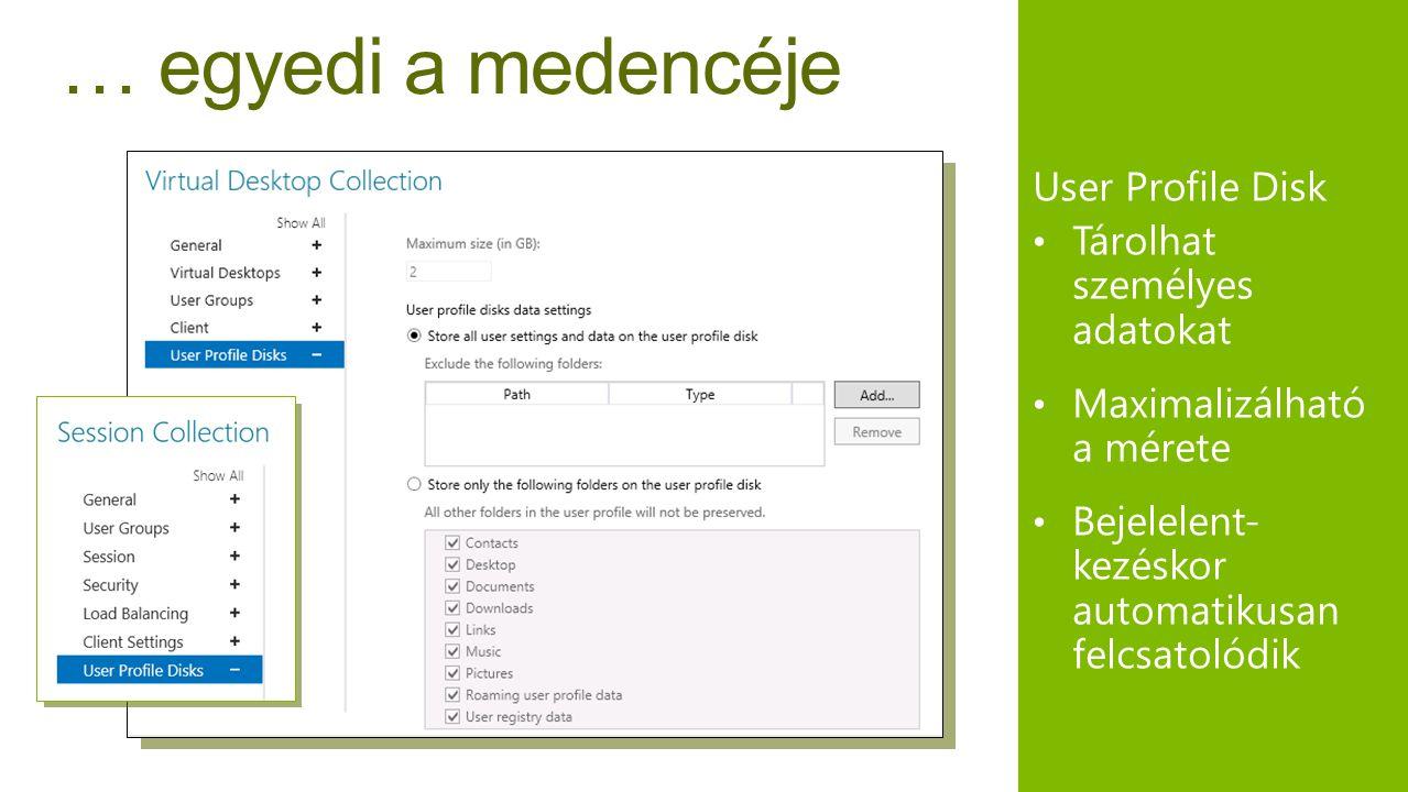 … egyedi a medencéje User Profile Disk • Tárolhat személyes adatokat • Maximalizálható a mérete • Bejelelent- kezéskor automatikusan felcsatolódik