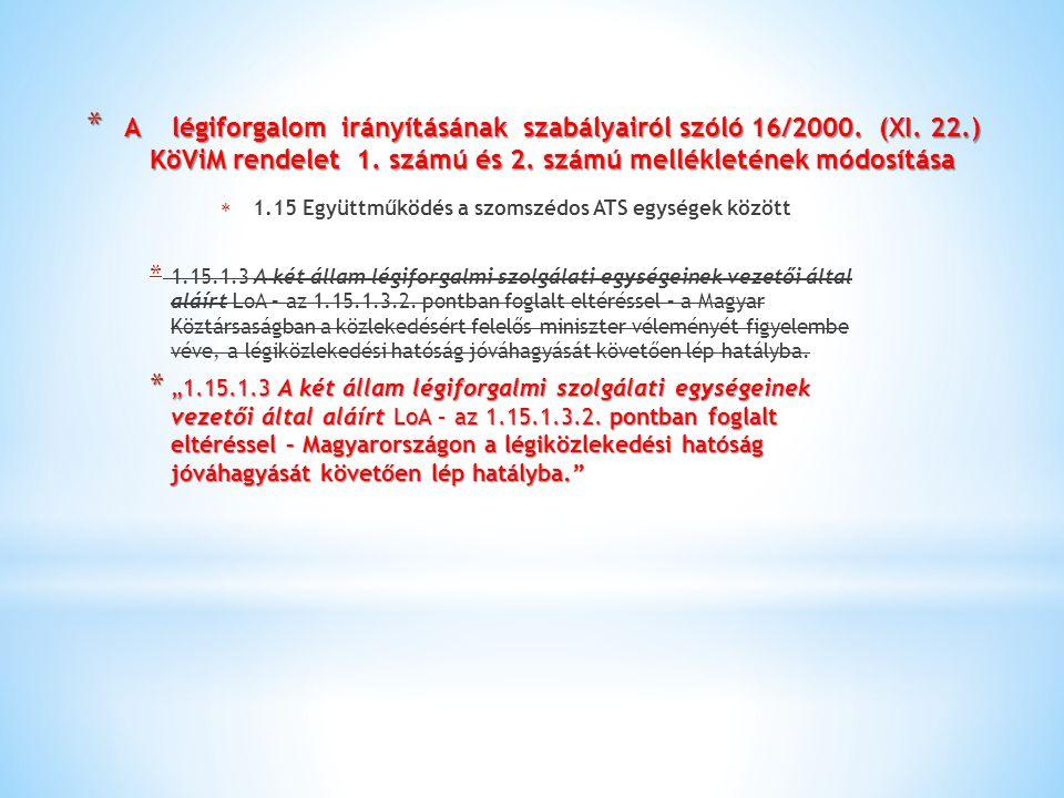 * A légiforgalom irányításának szabályairól szóló 16/2000. (XI. 22.) KöViM rendelet 1. számú és 2. számú mellékletének módosítása  1.15 Együttműködés