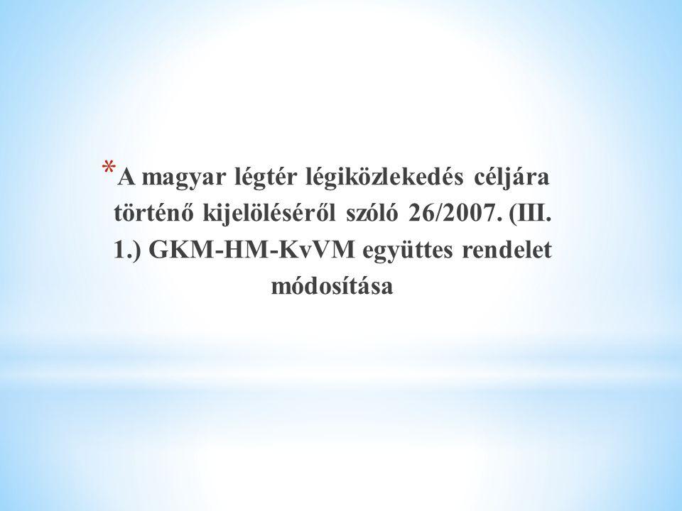 * A magyar légtér légiközlekedés céljára történő kijelöléséről szóló 26/2007. (III. 1.) GKM-HM-KvVM együttes rendelet módosítása