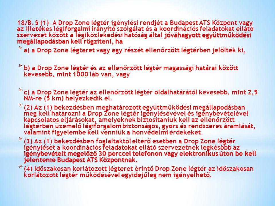 jóváhagyott együttműködési megállapodásban kell rögzíteni, ha 18/B. § (1) A Drop Zone légtér igénylési rendjét a Budapest ATS Központ vagy az illetéke