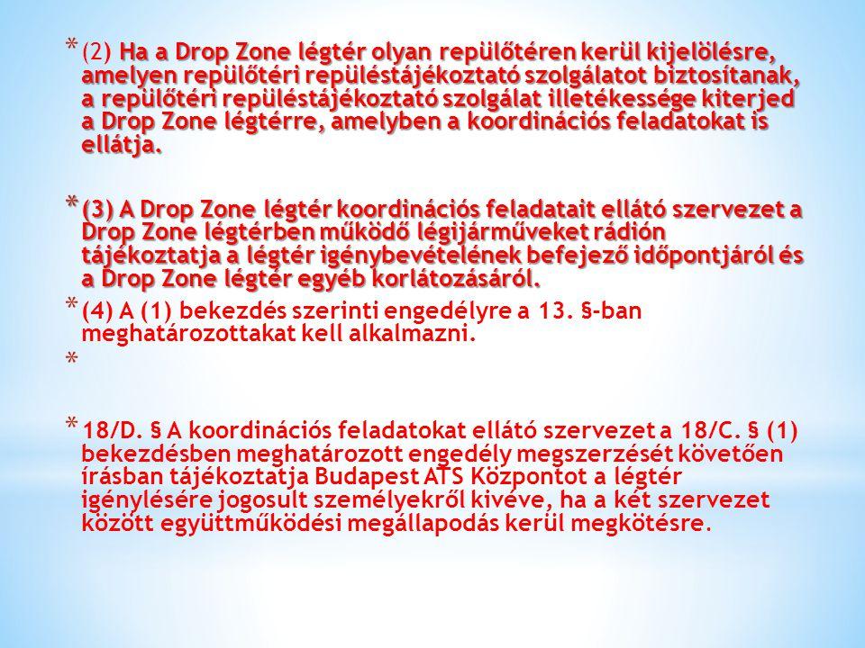 Ha a Drop Zone légtér olyan repülőtéren kerül kijelölésre, amelyen repülőtéri repüléstájékoztató szolgálatot biztosítanak, a repülőtéri repüléstájékoz