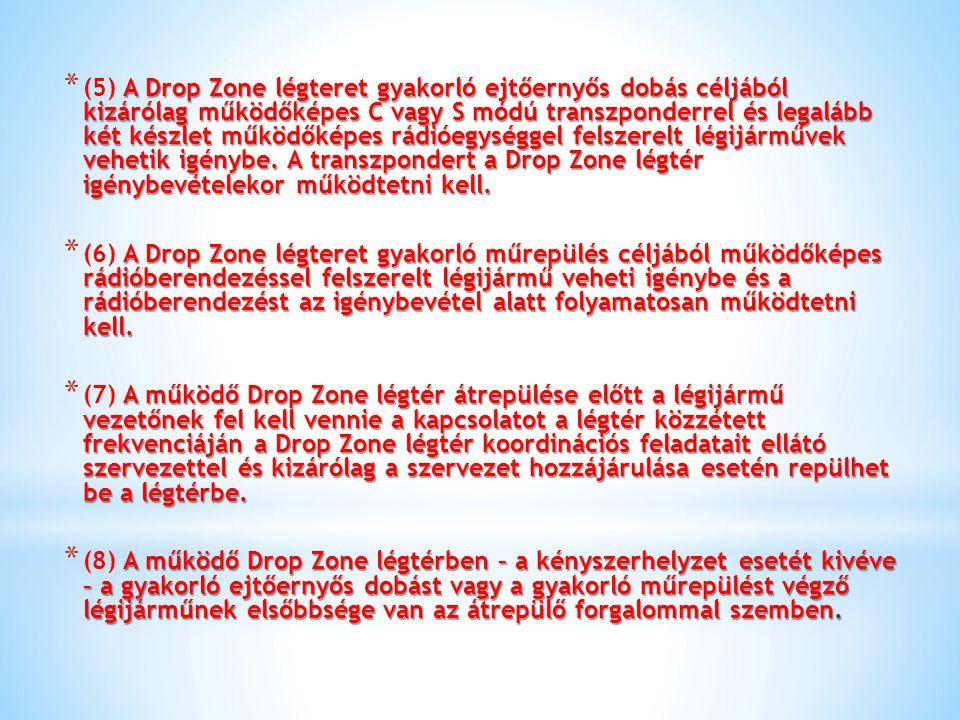 A Drop Zone légteret gyakorló ejtőernyős dobás céljából kizárólag működőképes C vagy S módú transzponderrel és legalább két készlet működőképes rádióe