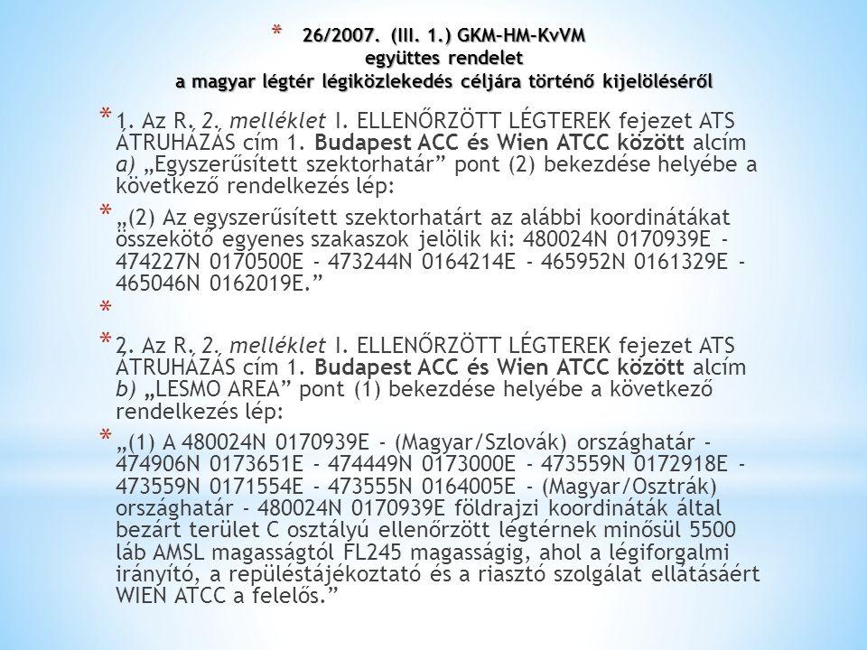 * 26/2007. (III. 1.) GKM–HM–KvVM együttes rendelet a magyar légtér légiközlekedés céljára történő kijelöléséről * 1. Az R. 2. melléklet I. ELLENŐRZÖTT