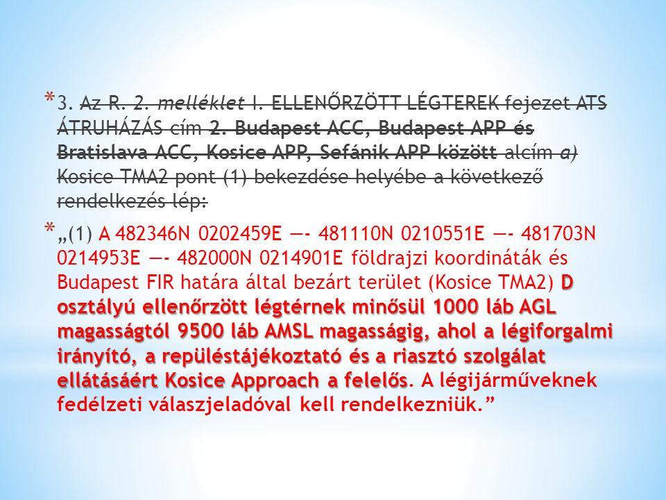 * 3. Az R. 2. melléklet I. ELLENŐRZÖTT LÉGTEREK fejezet ATS ÁTRUHÁZÁS cím 2. Budapest ACC, Budapest APP és Bratislava ACC, Kosice APP, Sefánik APP köz
