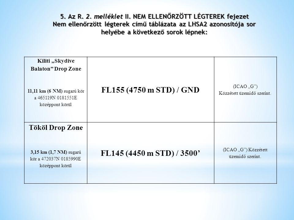 5. Az R. 2. melléklet II. NEM ELLENŐRZÖTT LÉGTEREK fejezet Nem ellenőrzött légterek című táblázata az LHSA2 azonosítója sor helyébe a következő sorok