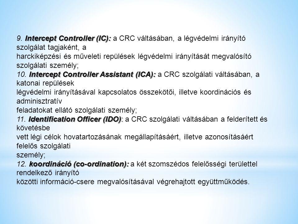 Intercept Controller (IC): 9. Intercept Controller (IC): a CRC váltásában, a légvédelmi irányító szolgálat tagjaként, a harckiképzési és műveleti repü