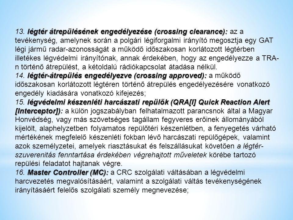 légtér átrepülésének engedélyezése (crossing clearance): 13. légtér átrepülésének engedélyezése (crossing clearance): az a tevékenység, amelynek során