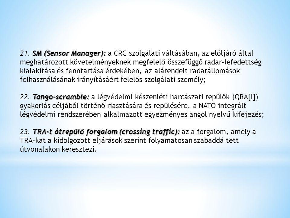 SM (Sensor Manager): 21. SM (Sensor Manager): a CRC szolgálati váltásában, az elöljáró által meghatározott követelményeknek megfelelő összefüggő radar