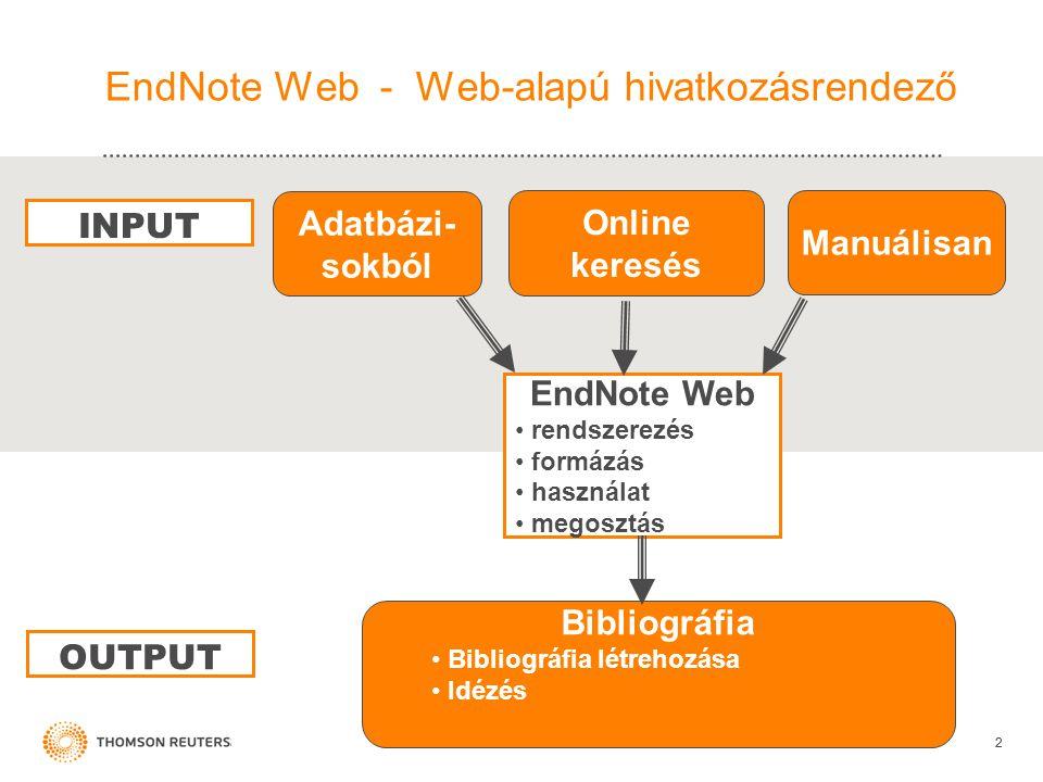 EndNote Web - Web-alapú hivatkozásrendező 22 EndNote Web • rendszerezés • formázás • használat • megosztás Adatbázi- sokból Manuálisan Bibliográfia • Bibliográfia létrehozása • Idézés INPUT OUTPUT Online keresés