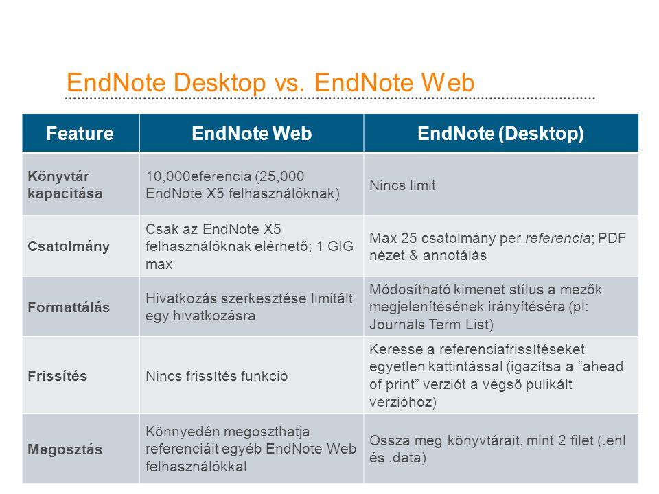 EndNote Desktop vs.