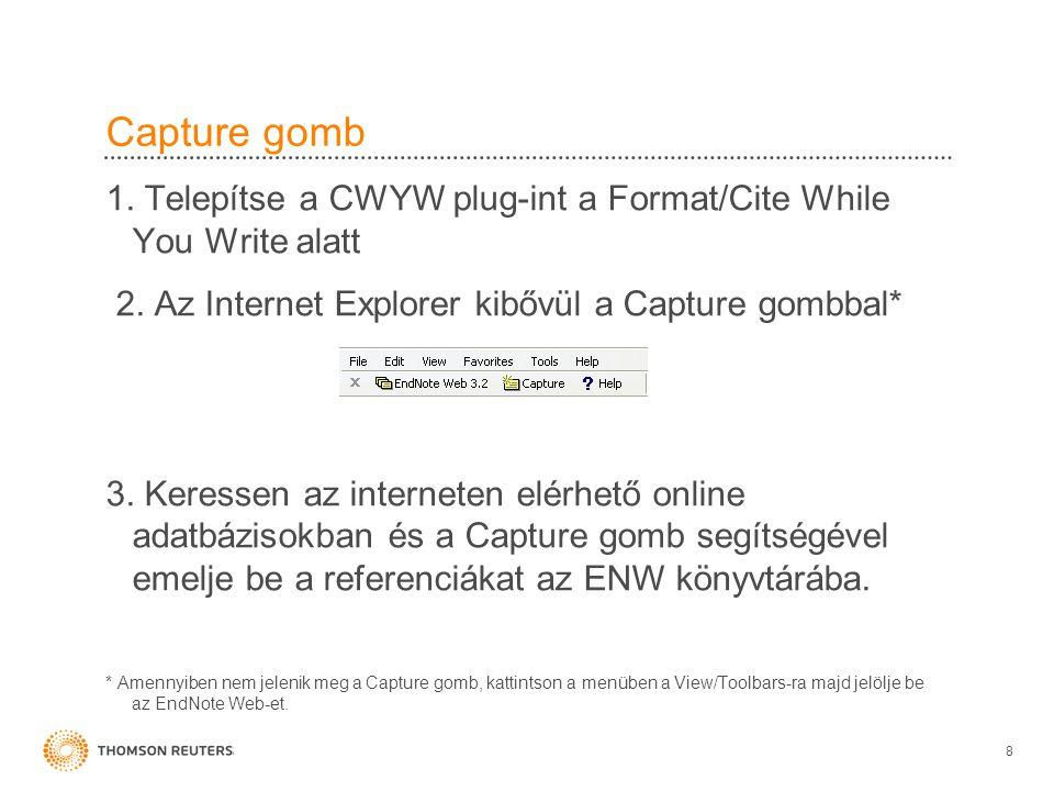 EndNote Web követelmények •Web Browser –Microsoft Internet Explorer 7.x–9.x –Firefox 3.5.x-4.0.x –Safari 4.x, 5.0 •Windows Plug-in –Windows XP SP2 or later / Windows Vista / Windows 7 –Word 2003 / 2007 / 2010 (32 bit) •Macintosh Plug-in –OS X 10.5.x and 10.6.x –Word 2008 / 2011 19