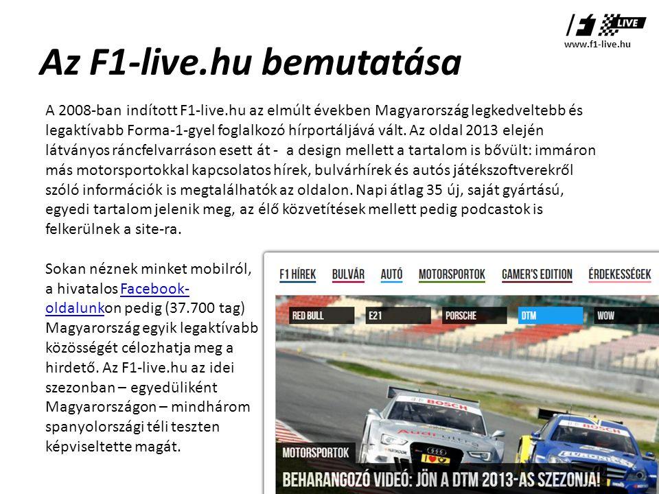 Az F1-live.hu bemutatása A 2008-ban indított F1-live.hu az elmúlt években Magyarország legkedveltebb és legaktívabb Forma-1-gyel foglalkozó hírportáljává vált.